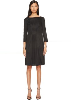 Jil Sander Navy Boat Neck 3/4 Sleeve Dress with Pleated Skirt