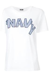 Jil Sander Navy embroidered logo T-shirt - White