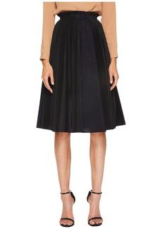 Jil Sander Navy Plisse Poplin Pleated Skirt