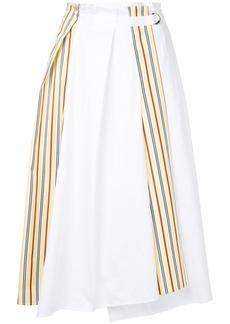 Jil Sander Navy side stripe paperbag midi skirt - White