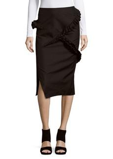 Jil Sander Solid Cotton & Wool-Blend Pencil Skirt
