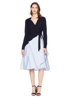 Jil Sander Navy Knitted Wrap Dress with Taffetas Skirt