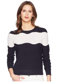 Jil Sander Navy Long Sleeve Knit with Contrasting Motif