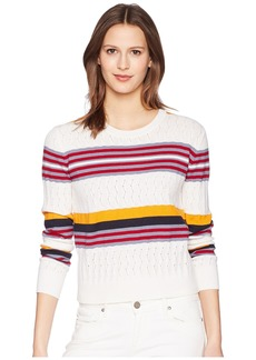 Jil Sander Navy Long Sleeve Knit with Mixed Stitches and Colors