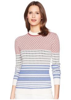 Jil Sander Navy Long Sleeve Pattern Mix Knit