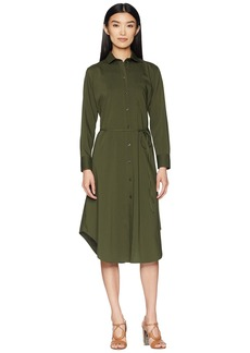 Jil Sander Navy Long Sleeve Shirtdress with Front Pocket
