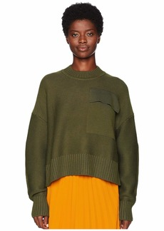 Jil Sander Navy Long Sleeve Wide and Short Round Collar Knit with Front Pocket