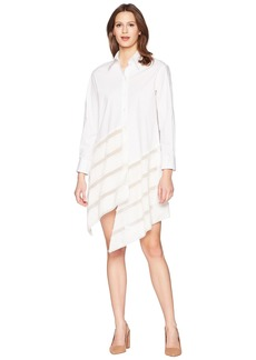Jil Sander Navy Long Sleeves Cotton Dress