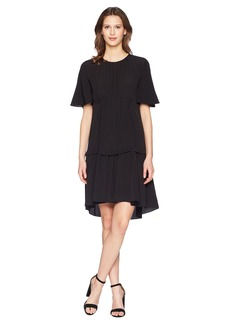Jil Sander Navy Oversize T-Shirt Dress in Crepe De Chine