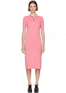 Jil Sander Navy Pink Wool Polo Dress