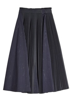 Jil Sander Navy Pleated Skirt