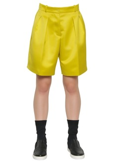 Jil Sander Navy Pleated Techno Duchesse Shorts
