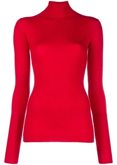 Jil Sander Navy ribbed turtleneck sweater