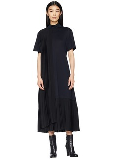 Jil Sander Navy Short Sleeve Dress Turtleneck and Plisst Details