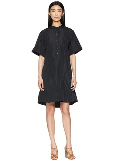 Jil Sander Navy Short Sleeve Dress w/ Korean Neckline