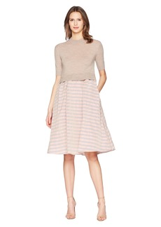 Jil Sander Navy Short Sleeve Knit Dress with Striped Taffetas Skirt
