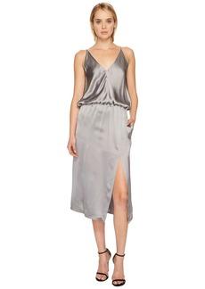 Jil Sander Navy Sleeveless Cami Slip Dress with Slit