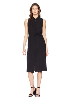 Jil Sander Navy Sleeveless Crepe De Chine Dress
