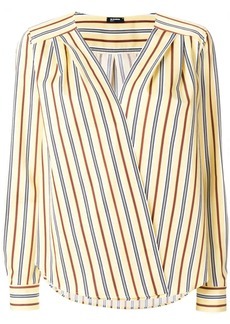 Jil Sander Navy striped wrap front blouse
