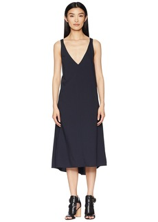 Jil Sander Navy V-Neck Dress with Braces at the Back