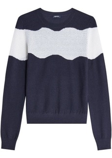 Jil Sander Navy Wool-Cotton Pullover with Perforated Panel