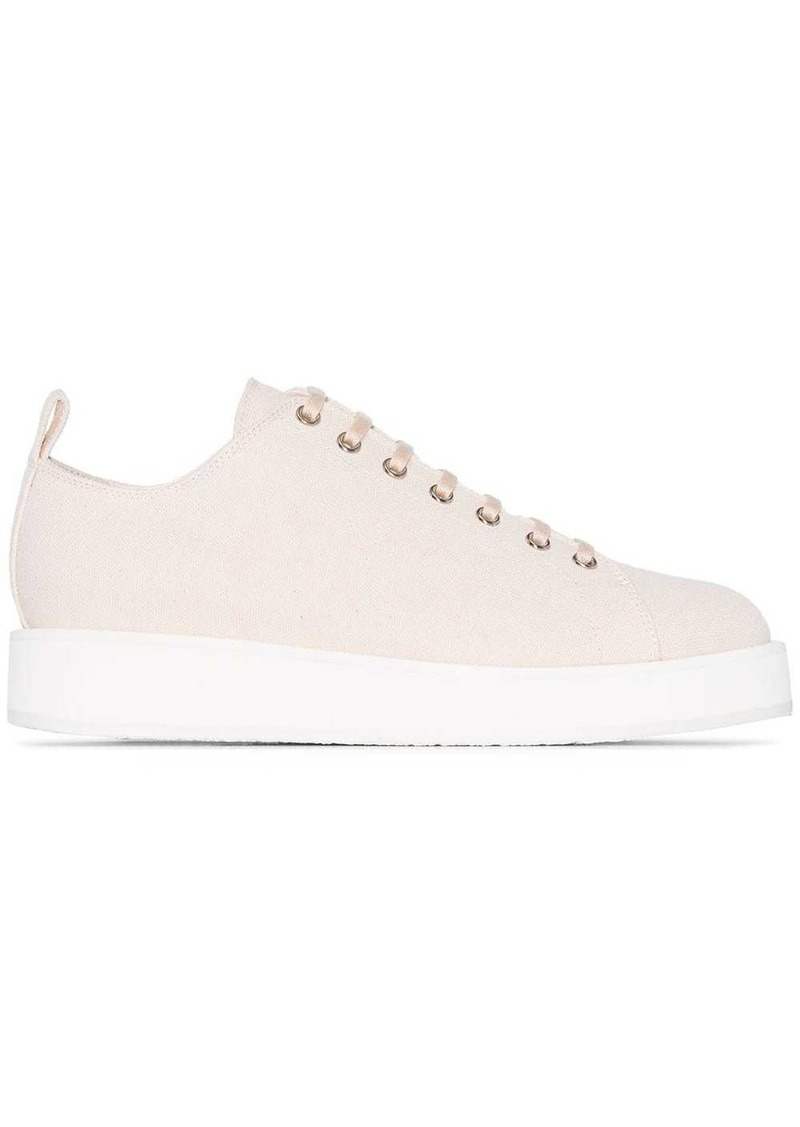 Jil Sander flatform cotton-canvas low top sneakers