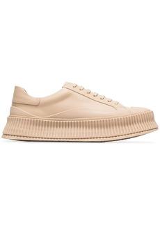 Jil Sander nude flatform leather sneakers