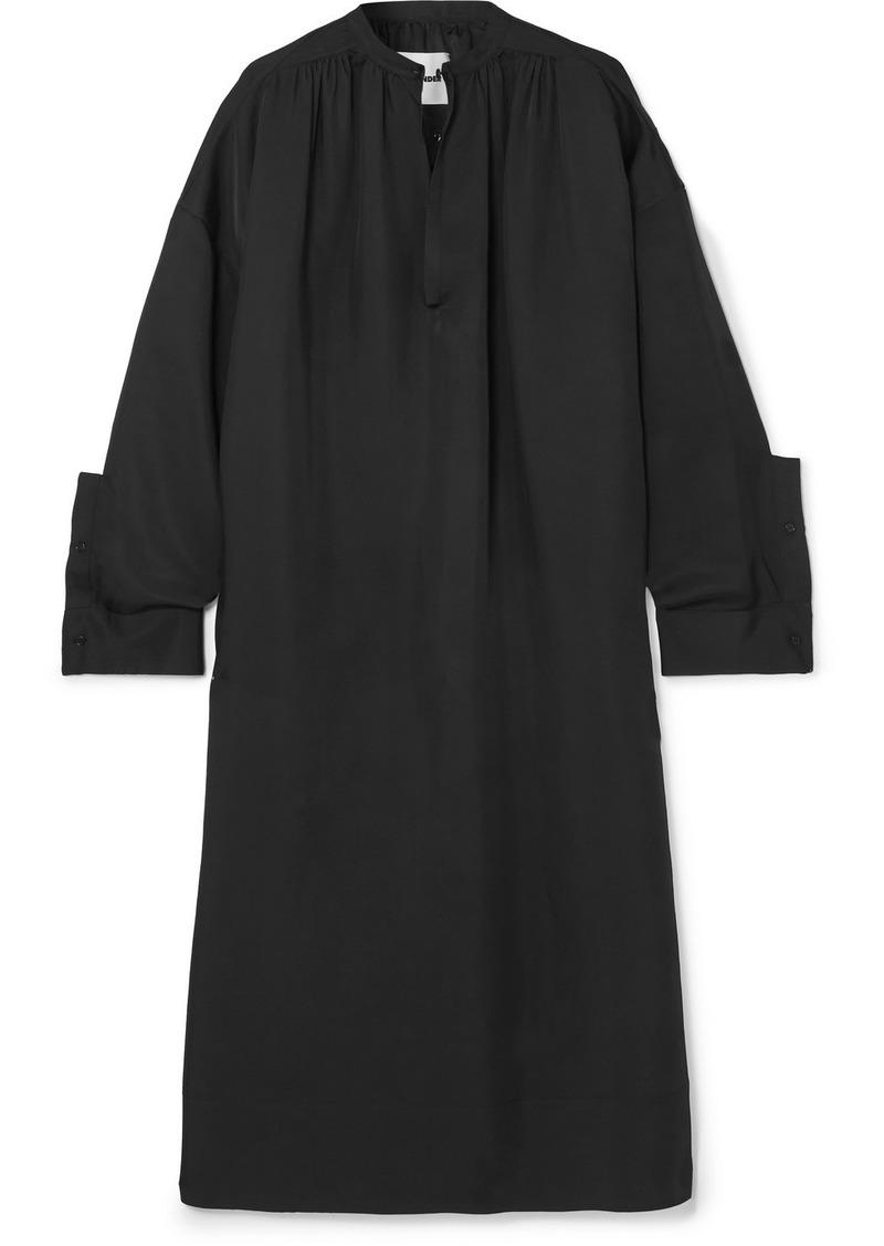 Jil Sander Oversized Gathered Twill Midi Dress