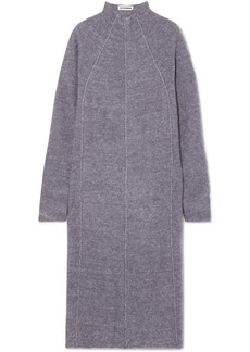 Jil Sander Paneled Mélange Cashmere, Wool And Silk-blend Midi Dress