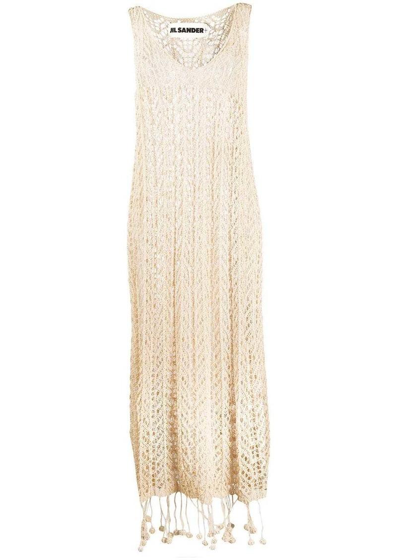 Jil Sander pompom-hem sleeveless crochet dress