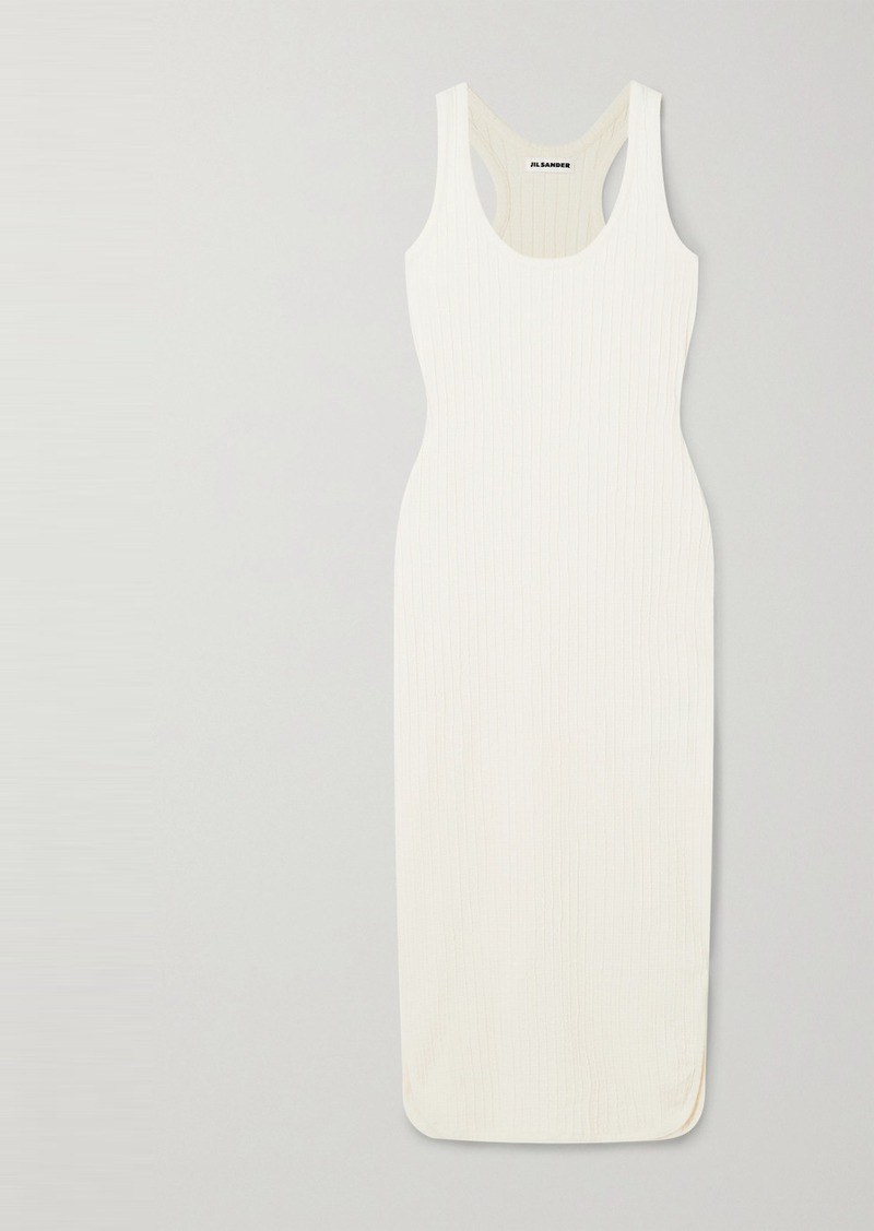 Jil Sander Ribbed Cotton-blend Midi Dress