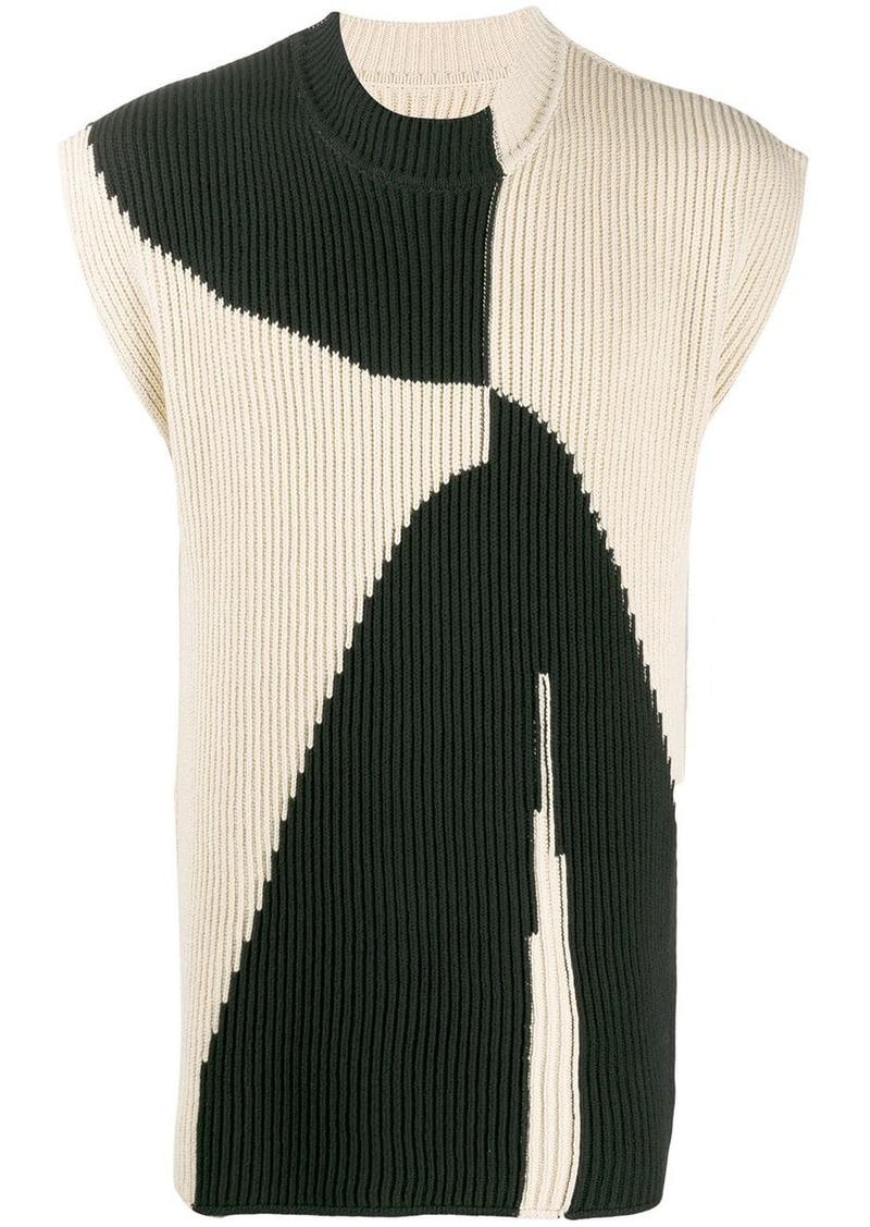 Jil Sander ribbed knit colour block jumper