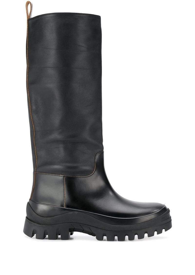 Jil Sander ridged sole mid-calf boots