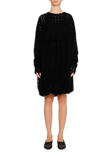 Jil Sander Round-Neck Long-Sleeve Lace Shift Dress