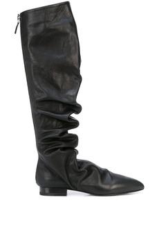 Jil Sander ruched knee-high boots
