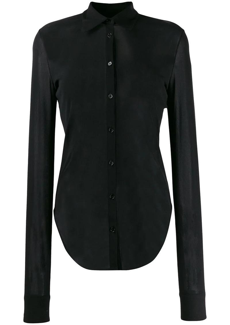 Jil Sander sheer curved-hem shirt