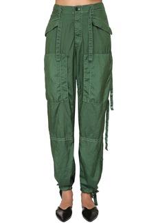 Jil Sander Silk & Nylon Canvas Cargo Pants