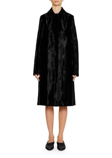Jil Sander Single-Breasted Button-Front Textured Velvet Midi Coat