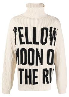 Jil Sander slogan print knitted roll neck