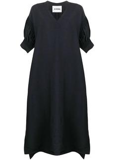 Jil Sander smocked sleeve midi dress