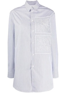 Jil Sander striped floral embroidery shirt