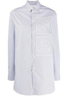 Jil Sander striped floral embroidery shirt