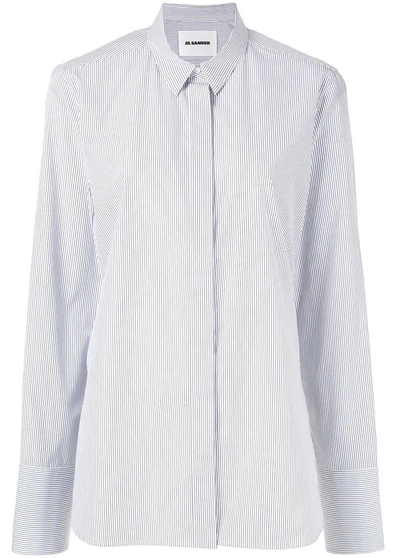 Jil Sander striped pointed collar shirt