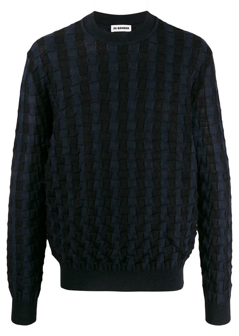 Jil Sander woven knit crewneck jumper