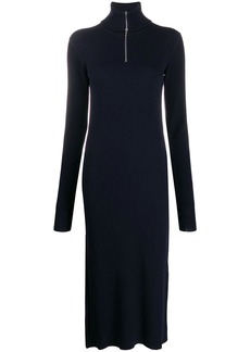 Jil Sander zipped rollneck ribbed dress