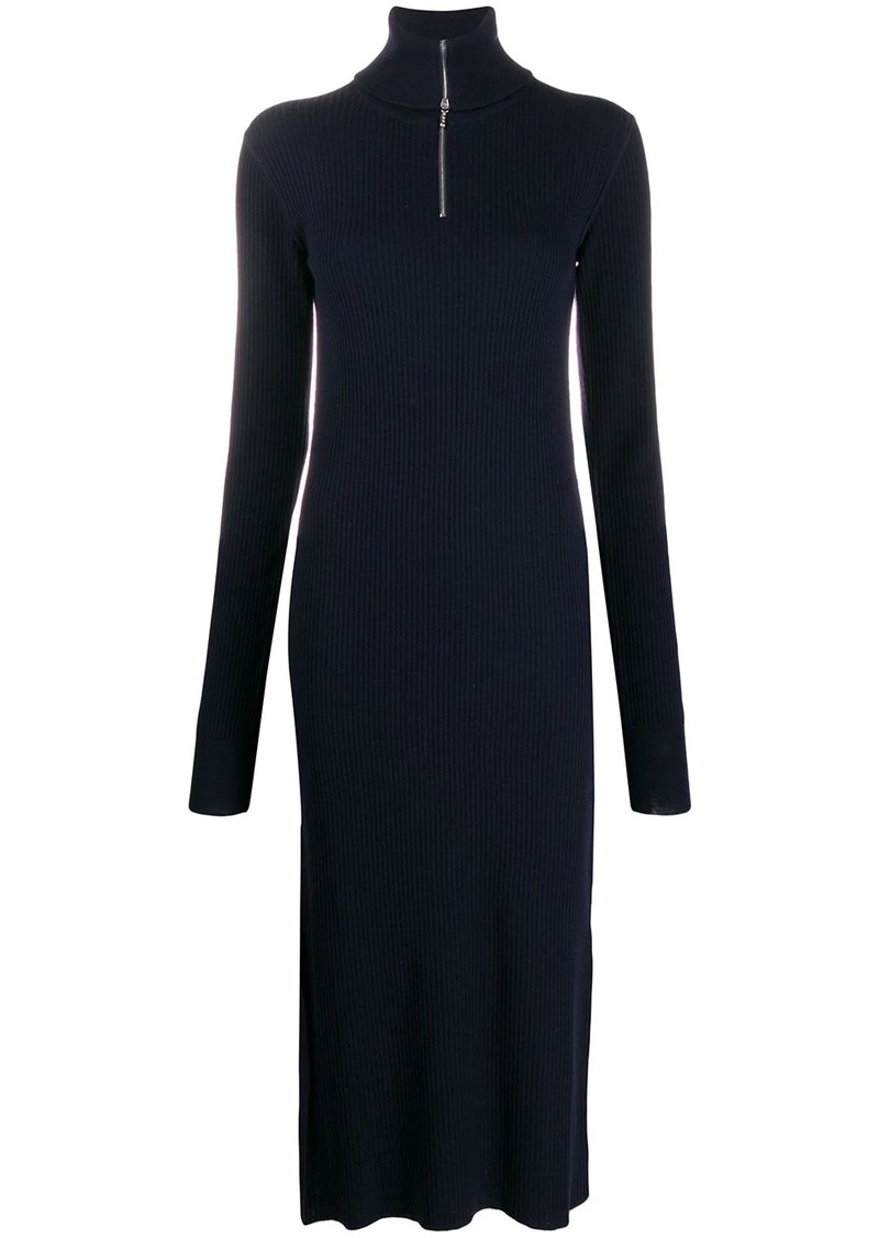 Jil Sander zipped rollneck ribbed dress