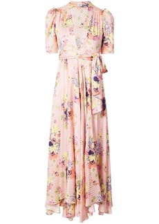 Jill Stuart floral plunge dress - Pink & Purple