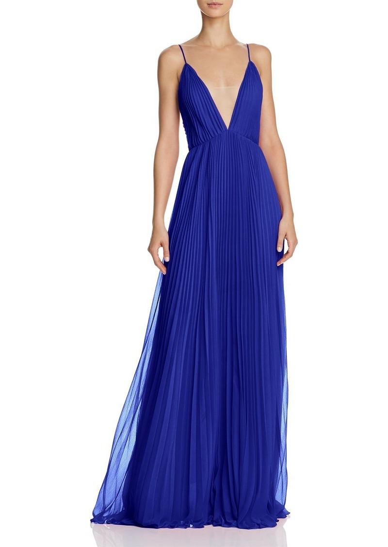 Jill Stuart Pleated Deep-V Gown