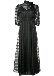 Jill Stuart sheer plaid puff sleeve dress
