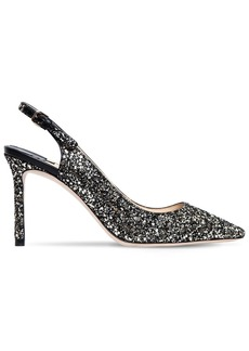 Jimmy Choo 85mm Erin Glittered Slingback Pumps